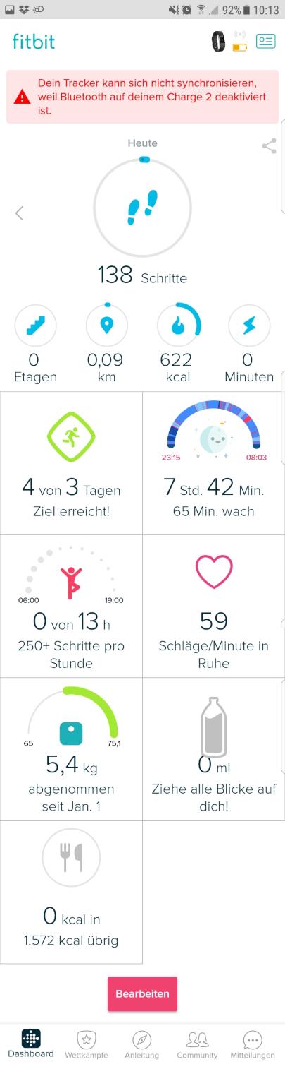 Hauptmenü Fitbit Charge 2 Handy App